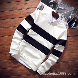Wholesale Male Neck Collar - Wholesale-2016 new male stripe sets long-sleeved round collar fleece youth easy leisure sweatshirts