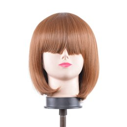 Wholesale Ken Wig - Ken - Auburn Brown Wig 11'' Short Straight Men's Cut with Long Bangs Fashion wig New Women's Bob Style Human Hair Wigs Brown Color