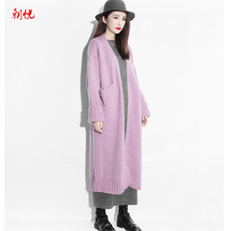 Wholesale Womens Thick Cardigans - Wholesale- Free shipping solid color winter womens cardigan sweaters, plus size long knitted sweater, thicken cardigan sweater outwear