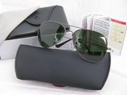 Wholesale Male Sunglass - (6pcs lot)High Quality Pilot Sunglasses Men Women Mirror UV400 Sun Glasses Brand Designer Male And Female Sunglass Lens With box and Cases