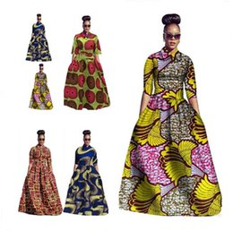 Wholesale Traditional Ball Gowns - Fashion Women Traditional African Print Dashiki Party Plus Size Long Dress M-2XL