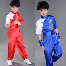 Wholesale Chinese Boys Suit - Children Chinese Traditional Wushu Costume Martial Arts Uniform Kung Fu Suit for Kids Boys Girls Stage Performance Clothing Set