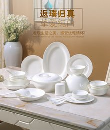 Wholesale Blue Dishes China - Bone china 28 tableware set tableware simple white dishes Chinese tableware chopsticks