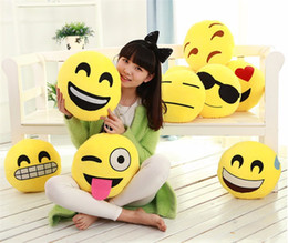 Wholesale Red Color Cushion Pillow - 2017 Cute Soft Emoji Smiley Cushions Pillows QQ Facial Emotions Pillow Round Cushion Stuffed Plush Toy Gift for Kids