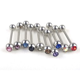 Wholesale Tongue Piercing Rings Jewelry - 1PC Stainless Steel Cartilage Tragus Barbell Tongue Ring Piercing Ear 10 Colors Nail Ear Clasp Ear Bone Barbell Body Jewelry