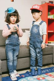 Wholesale Suspender Overalls Boy - 2017 Baby Boys and Girls Denim Suspender Pants Babies Wash Blue Fashion Jean Overalls Children's Spring Casual clothing