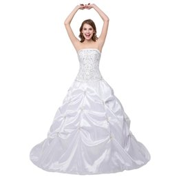 Wholesale Taffeta Wedding Gown China - In Stock Boat Neck Wedding Dress Embroidered Ball gown wedding gown Beaded Ruffle Lace Up china wedding dresses