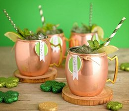 Wholesale Drum Gifts - 16oz Copper Mugs Moscow Mule Copper Plated Mug Cups Stainless Steel Hammered Copper Mug Drum Cocktail Drink Cups with Handles