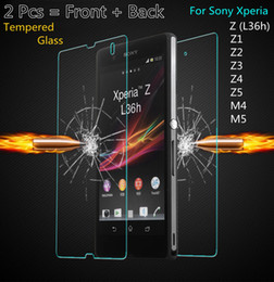 Wholesale Xperia Z Full - 2PCS = Front + Back Screen Protector Film Premium Tempered Glass for Sony Xperia Z M4 M5 Aqua Z1 Z4 Z5 Z2 Z4 Z3 Compact Case