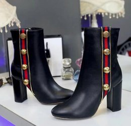 Wholesale Thick Leather Boots - spring autumn women boots single thick heel ankle boots motorcycle boots for leather pump women with zipper round toe dress shoe women pump