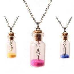 Wholesale Bottle Necklaces Corks - Good A++ Cork rafting bottle necklace small pearl ornaments sweater chain burst WFN299 (with chain) mix order 20 pieces a lot