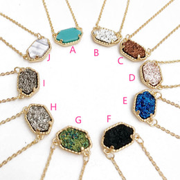 Wholesale Colors For Ladies - Trendy Druzy Drusy Stone Necklace Kendra scott Silver Gold Plated Oval Geometry crystal Necklaces Best for Lady Various 10 Colors