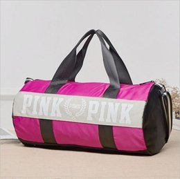 Wholesale Wholesale Canvas Travel Bags - Women Pink Handbags Secret Letter Travel Bags VS Beach Bag Duffle Striped Shoulder Bags Large Capacity Waterproof Fitness Yoga Bags