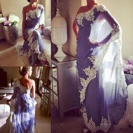 2019 billig ein schulter abend kleider Lavendel Chiffon One Shoulder Abendkleider Mit Weißer Spitze Applique Saudi Arabisch Einfache Design Prom Kleider Frauen Formal Wear Billig rabatt billig ein schulter abend kleider