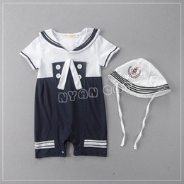 Wholesale Navy Style Hat - Retail Summer Baby Boys Rompers Navy Style Short Sleeve Jumpsuits With Hat One Piece Overalls 0-18M E13611