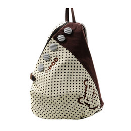 Wholesale Polka Dot Backpack Wholesale - Wholesale- 2016 Hot New Fashion Women Backpack Contrast Polka Dot Button Decoration Canvas Shoulder Bag Khaki with Red Dot