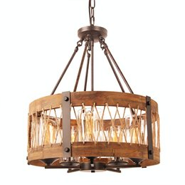 Wholesale Antique Glass Shade Lamp - Round Wooden Chandelier with Clear Glass Shade, Retro Rustic Loft Antique Lamp, Edison Bulb Vintage Pipe Sconce Decorative Light Fixtures