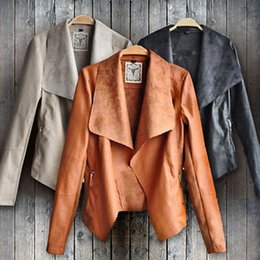 Wholesale Women Short Leather Jackets Wholesale - Wholesale- 2016 Fashion Vintage Womens Slim Leather Jacket Biker Motorcycle Short Coat Jacket WHolesale