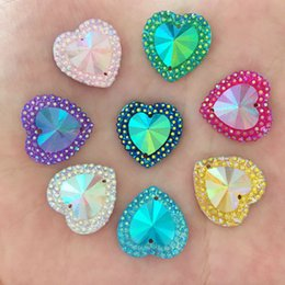 Wholesale Flat Back Resins Wholesale - DIY 200Pcs 16mm AB Resin Heart Flat Back 2 Hole Rhinestone Wedding Buttons Crafts K98*10