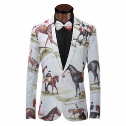 Wholesale stage wear jackets - Wholesale- Brand New Blazer Men Riding Horse Print Suit Jacket Slim Fit Casual Stage Wear Fashion Mens Blazers Plus Size XS-6XL