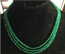 Wholesale Green Jade Beads 4mm - Details about NEW 4mm Faceted 3 Rows Genuine Natural Green Emerald beads necklace AAAA
