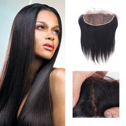 Cheveux Humains Indiens Bruts Base De La Dentelle Frontale Droite Non Transformés Cheveux Vierges Soie Top Oreille À L'oreille Dentelle Fermeture 13 * 4 ? partir de fabricateur