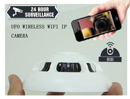 Wholesale Free Hidden Ip Camera - UFO Wireless IP Network Camera Wifi Cameras hidden spy nanny Smoke Detector DVR Digital Video Recorder Cam Security System Free Shipping AT