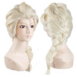 Wholesale Long Cosplay Wigs Free Shipping - Wholesale free shipping >>>> 2017 new frozen Elsa Princess Cosplay wig Long Weaving Braid Light Blonde Wigs