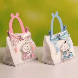Wholesale Wholesale Recycled Fabric - Wholesale-2016 New!! 7.5*4.5*12cm Baby Boy Figure Wedding Candy Chocolate Bags Portable Favor Bags Nonwoven Fabric Candy Bag 12pcs