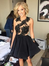 Wholesale Lace Home Dress - Illusion Black Cocktail Dresses Mini Length Bridesmaid Formal Gown 2017 Sexy Home Coming Dress Prom Gown