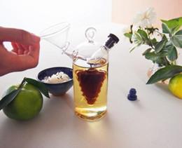 estação de petróleo Desconto Nova alta temperatura tempero garrafa de óleo e vinagre galss frasco de molho de vidro frasco de vidro temperado pequeno garrafas de armazenamento de vinho