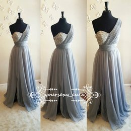 Wholesale Chiffon Bridesmaid Gowns Beading - One Shoulder Chiffon Long Bridesmaid Dresses Crystal Beaded Floor Length Split Silver Gray Purple Plus Size Bridesmaid Gowns