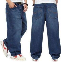 Wholesale Baggy Jeans Fashion - Wholesale-New Fashion baggy jeans pants man dark blue color Hiphop loose skateboard men jeans big size 30-46 Pantalones