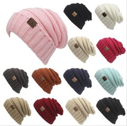 Wholesale Pink Skull Party - 2017 New Unisex CC Beanies Elegant Knitted Hats Cap Beanies Autumn Winter Casual Cap Women Men Christmas Gift 13 color