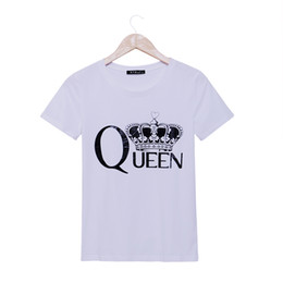 Wholesale Crown Shorts - Wholesale-2015 fashion casual t shirt women Queen Crown printed t-shirt summer short sleeve plus size fitness rock punk tees woman tops