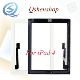 Wholesale Original Ipad Digitizer Button - High Quality A+++ Original For IPAD 4 Black white Touch Screen Digitizer Glass Replacement & Home Button