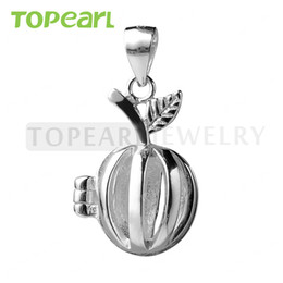 Wholesale Apple Locket - SWP08 Teboer Jewelry 5pcs Apple Cage 925 Sterling Silver Love Wish Pearl Pendant