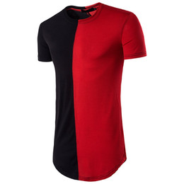 Wholesale O Necked Tshirts For Men - Hiphop Panelled Tshirts For Men Brand Design Short Sleeve T-Shirts Hip-hop Style Clothing O-neck T Shirts Wholesale