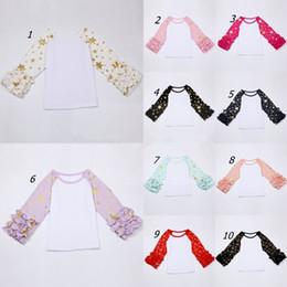 Wholesale Kids Raglan Wholesale - 10styles Girls Star Snowflake Print Tops Kids Spring Autumn long sleeve icing Ruffled raglan Tops toddler glitter sweet shirt