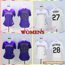 Wholesale Cheap Ladies Shorts - 2017 Women's Colorado Rockies Baseball Jersey Cool Base Women 28 Nolan Arenado 27 Trevor Story Purple Color Ladies Stitched Jerseys Cheap