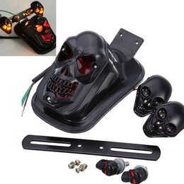 Wholesale Motorcycle Skull Turn Signal Lights - Durable Modified Motorcycle Accessories LED Black Skull Taillight+Turn Signal Personalized Motorbike Tail Lights Plus Steering MOT_20G