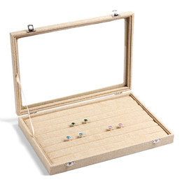 Wholesale Glass Ring Display Case - High Grade Linen Ring Box Jewelry Case Rings Earrings Showcase Jewelry Storage Box Necklace Display With Glass Cover