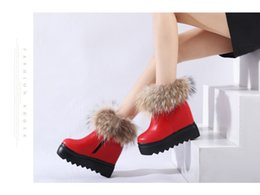 Wholesale Boot Grey Fox - Free Shipping Autumn and Winter Snow Boots Woman's Shoes Leather Shoes Fox Fur Thick Soled Boots Cotton Woman Fashion Boots 3 Colors