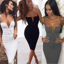 Wholesale tight fitted black dresses - Sexy Summer Spaghetti Cami Straps Sling Slim Fit Tight Bodycon Sleeveless Slip Short Dress Evening Cocktail Party Dresses Clubwear