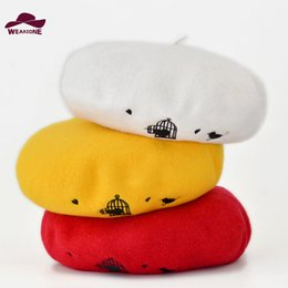 Wholesale Knitted Hats For Men Patterns - Wholesale-Winter hats for women Berets Knitted 100% wool beret mujer Embroidered cartoon Pattern Berets Hats Berets Warm Caps lidies hat