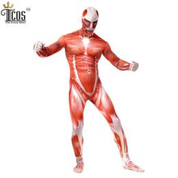Wholesale Lycra Costume Men - Attack On Titan Cosplay Costumes Spandex Lycra Second Skin Tight Suit Adult Muscle Full Body Bodysuit Bertolt Hoover Zentai
