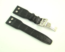 Wholesale Deployment Black Leather Strap - 24mm Black Watch Bands Watch Straps For Men High Quality Genuine Leather Watchbands Mens Bands Replacement P96