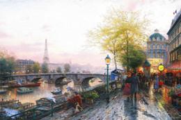 Wholesale Eiffel Painting - 022 Paris Eiffel Tower Thomas Kinkade Oil Painting,HD Art Print Original Canvas Wall Deco,Multi size,Free Shipping,framed