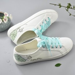 Wholesale Chinese Painting Lace - Fashion Simple Hand-painted Lace up Women Canvas Cartoon Shoes Chinese Plum blossom Lotus Graffiti Low Cut Sneakers Casual Shoes White