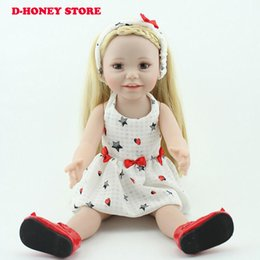 Wholesale American Girl Doll Body - 45cm Long straight Hair Girl American Doll Toys Full Body Realistic Toddle Princess Menina Bonecas Brinquedos Reborn